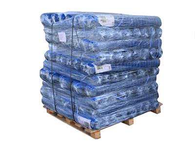 A pallet of blue barrier mesh.