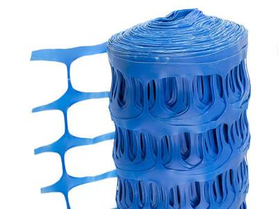 Blue barrier fencing mesh for snow control.