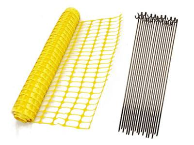 Yellow flat oriented barrier mesh with steel pin stakes.