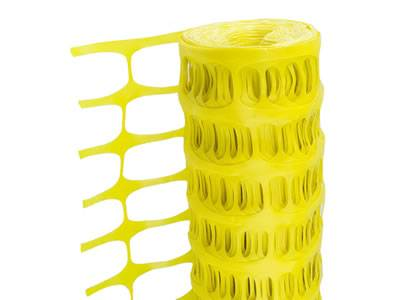 Yellow plastic barrier fence with oval opening