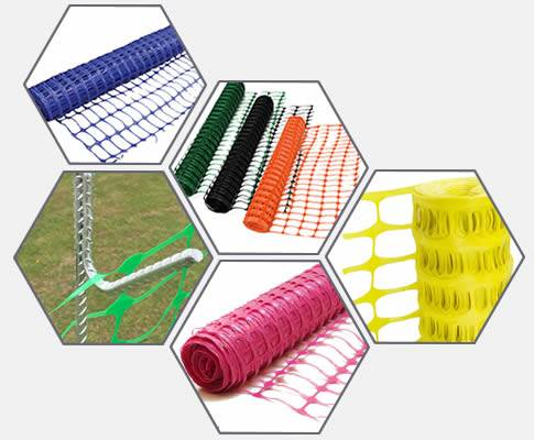 Plastic barrier mesh in pink, yellow, black, green, blue, orange and accessory fence pin.