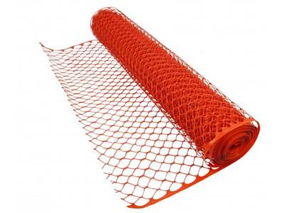 Orange barrier fence mesh with diamond opening.