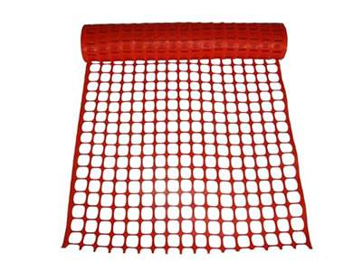 Orange square barrier mesh with 1/2 inch top and bottom band.